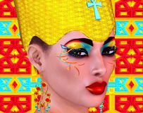 Egyptian Queen Adorned With Gold And Turquoise Jewelry. Stock Image