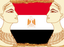 Egyptian queen cleopatra on the background of the flag of Egypt Stock Image