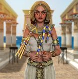 Egyptian Queen Cleopatra Pharaoh holding signs of power stock illustration