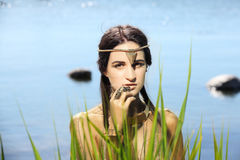Egyptian queen goddess. Shooting outdoors in the style of ancient Egypt. Egyptian queen goddess. Shooting outdoors in the style of ancient Egypt Royalty Free Stock Photography