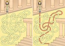 Egyptian queen maze. For kids with a solution Stock Photos