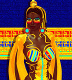 Egyptian queen, pharaoh or princess in colorful striped outfit with fashion cosmetics Royalty Free Stock Image