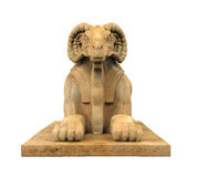 Egyptian Ram Headed Sphinx Statue. Egyptian Ram-Headed Sphinx Statue isolated on white background. 3D render Royalty Free Stock Photos