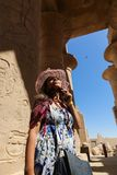 Egyptian woman at Ramesseum temple in Luxor - Egypt Royalty Free Stock Photos
