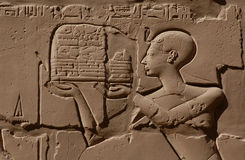 Egyptian Relief. In the Temple of Amun in Karnak near Luxor (Thebes), Egypt Royalty Free Stock Images