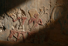 Egyptian Relief. Egyptian rowing slaves from a bas-relief from Hatshepsut Temple near Luxor (Thebes), Egypt Stock Image