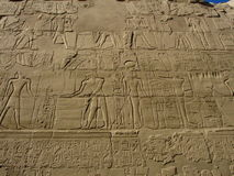 Egyptian relief. In luxorr temple royalty free stock images