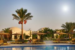 Egyptian resort, swimming pool. Royalty Free Stock Images