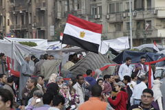 Egyptian Revolution - Celebrations. Egyptians celebrating in Tahrir square on the 12th February after former president Mubarak stepped down on the 11th of Royalty Free Stock Photo