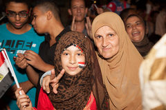 Egyptian revolution Girls Stock Photos