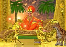 Egyptian Royal. An Egyptian royal sits on her chaise lounge with golden servants, one who presents her with gems, while the other entertains her with dance.  A Royalty Free Stock Photography