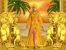 Egyptian royal woman standing. With statues, palm trees in background and an orange sunset sky and ocean. Can depict Cleopatra, Nefertiti, Hatshepsut or any Royalty Free Stock Image