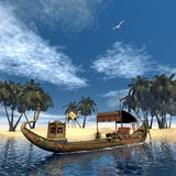 Egyptian sacred barge with throne - 3D render Royalty Free Stock Photo