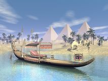 Egyptian sacred barge with throne - 3D render. Egyptian sacred barge with throne floating on water near beach, pyramids, palm trees and camels Royalty Free Stock Photos