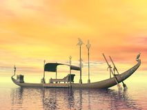 Egyptian sacred barge with throne - 3D render. Egyptian sacred barge with throne floating on the water by sunset Royalty Free Stock Photo