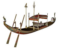 Egyptian sacred barge with throne - 3D render Royalty Free Stock Image