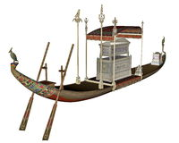 Egyptian sacred barge with tonb - 3D render Royalty Free Stock Photos