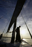 Egyptian sailer on falucca, Ri Royalty Free Stock Photos