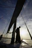Egyptian sailer on falucca, Ri. Ver Nile, near Luxor Egypt Royalty Free Stock Photos