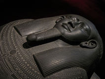 Egyptian sarcophagus of black stone Stock Images