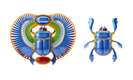 Egyptian scarab. Illustration of a jewel shaped as the a sacred scarab, an antique egyptian symbol, in gold and precious stones. Two versions, with and without Stock Images