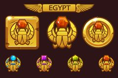 Egyptian scarab symbol of pharaoh with colored precious gems. Vector Egyptian Icons. Egyptian scarab symbol of pharaoh with colored precious gems. Egyptian Icons vector illustration