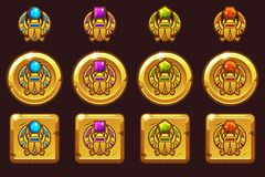Egyptian scarab symbol of pharaoh with colored precious gems. Vector Egyptian golden icons in different versions. Egyptian scarab symbol of pharaoh with colored vector illustration