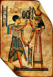 Egyptian scroll. Ancient egyptian scroll with traditional drawings Royalty Free Stock Photo