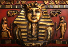 Egyptian sculpture detail. Detail of a wooden sculpture depicting the egyptian Royalty Free Stock Photography