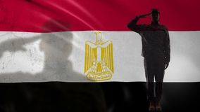 Egyptian soldier silhouette saluting against national flag, country strength. Stock footage stock video footage