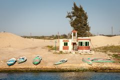 Egyptian Soldiers Outpost on Suez Canal Royalty Free Stock Image