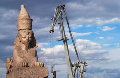 Egyptian Sphinx - 1. One of two counter-facing Egyptian Sphinxes on the Schmidt's Embankment in Saint Petersburg. These ancient sphinxes are about 3200 years old stock photography