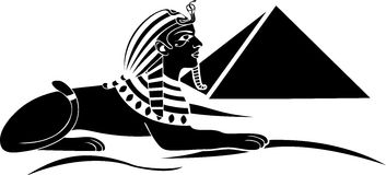 Egyptian sphinx. With pyramid black stencil Royalty Free Stock Image