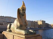 Egyptian sphinx near the bridge, St. Petersburg, Russia Stock Photo