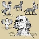 Egyptian sphinx and other fantastic creatures, mythology symbols of ancient civilisations, centaurus Stock Photos