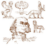 Egyptian sphinx and other fantastic creatures, mythology symbols of ancient civilisations, centaurus Stock Images