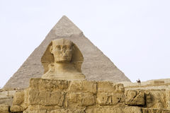 Egyptian Sphinx with pyramid Royalty Free Stock Image