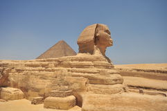 Egyptian Sphinx and pyramid Stock Image