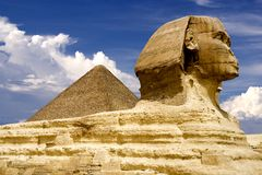 Egyptian Sphinx and Pyramid Stock Photo