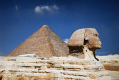 Egyptian sphinx and pyramid Royalty Free Stock Photos