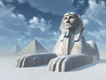 Egyptian Sphinx and Pyramids Royalty Free Stock Photo