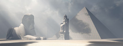 Egyptian sphinx, statue and pyramids royalty free illustration