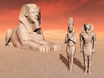 Egyptian sphinx and statues Royalty Free Stock Photos