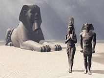 Egyptian sphinx and statues Royalty Free Stock Images