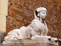 Egyptian Sphinx Stone Statue Retro Park Madrid Spain Stock Photos