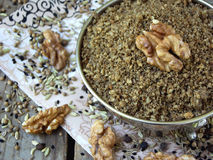 Egyptian spice blend Dukkah nuts, black pepper, coriander, fennel, cumin and other spices. Selective focus royalty free stock image