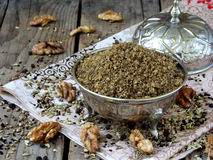 Egyptian spice blend Dukkah nuts, black pepper, coriander, fennel, cumin and other spices Royalty Free Stock Photo