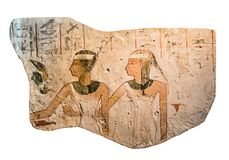 Egyptian stone with drawings Stock Photos