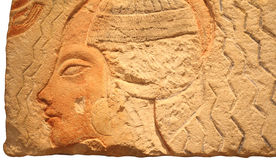 Egyptian stone with engraved head Stock Photography