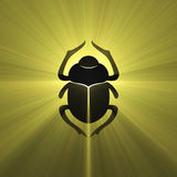 Egyptian symbol scarab beetle light flare Royalty Free Stock Images